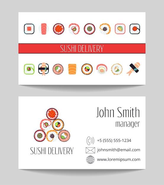 Carte de visite de livraison de sushi les deux côtés vector modèle Vecteur Premium