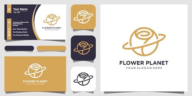 Carte De Visite Et Logo Abstrait Planète Et Fleur Rose Vecteur Premium