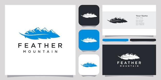 Carte De Visite Et Logo Abstrait Plume Et Montagne Vecteur Premium