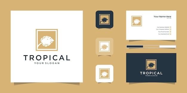 Carte De Visite Et Logo De Feuilles Vertes Tropicales Vecteur Premium