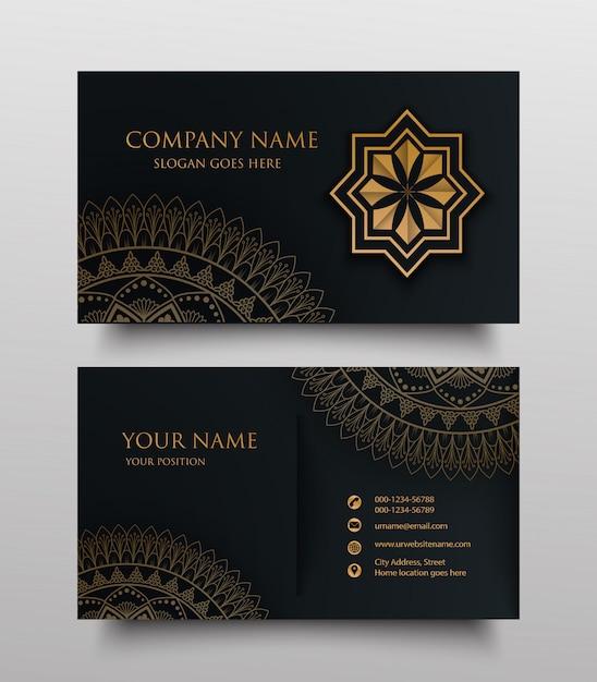 Carte De Visite Avec Logo Ornement Floral Or Et Place Pour Le Texte Sur Fond Sombre Vecteur Premium