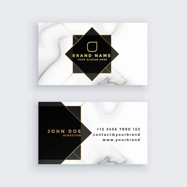 Carte De Visite Luxe En Marbre Style Noir Et Blanc