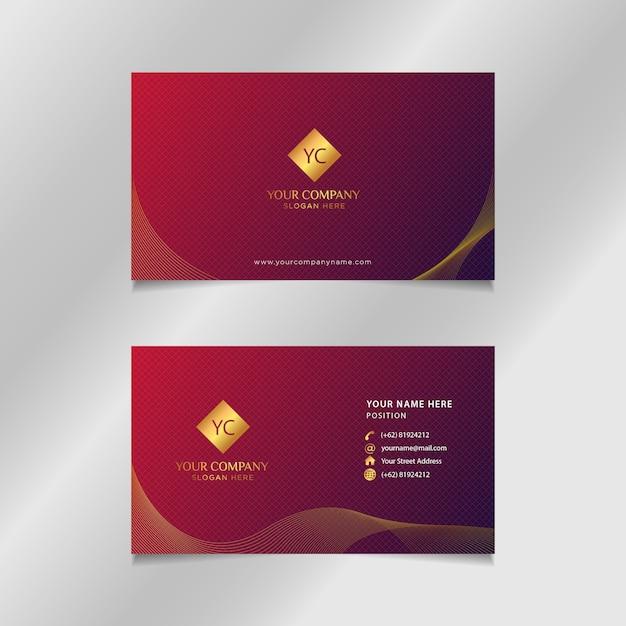 Carte de visite de luxe en or rouge Vecteur Premium