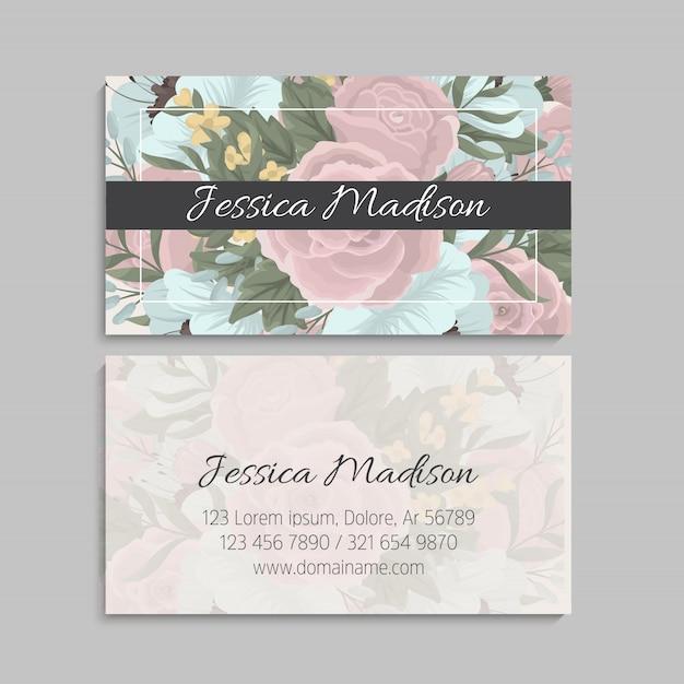 Carte de visite à la menthe et fleurs roses. modèle Vecteur gratuit