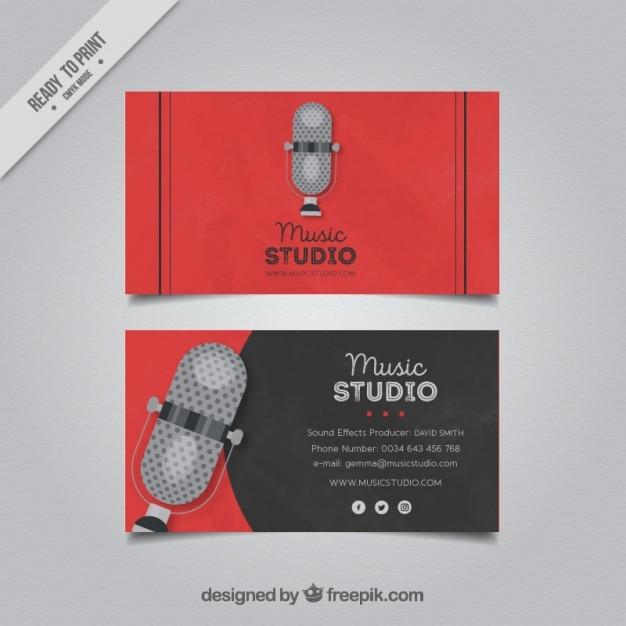 Carte De Visite Avec Un Microphone Pour Studio Musique
