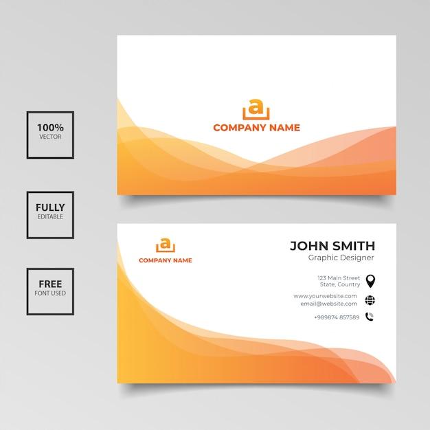 Carte De Visite Minimaliste. Dégradé Orange Et Blanc Couleur Horizontale Simple Modèle Propre Vecteur Conception Vecteur Premium