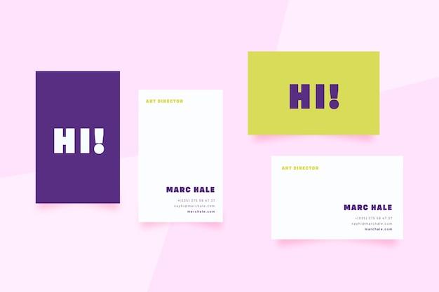Carte De Visite De Modèle Minimal Coloré Vecteur gratuit