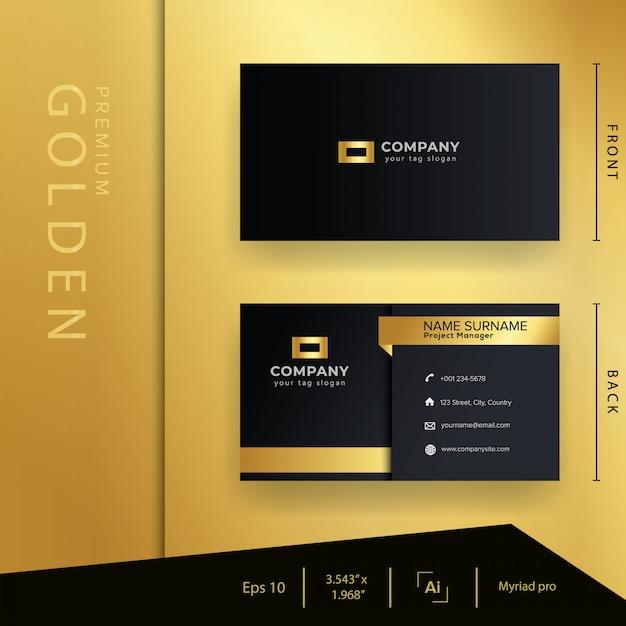 Carte de visite moderne en or noir avec style de luxe et modèle élégant Vecteur Premium