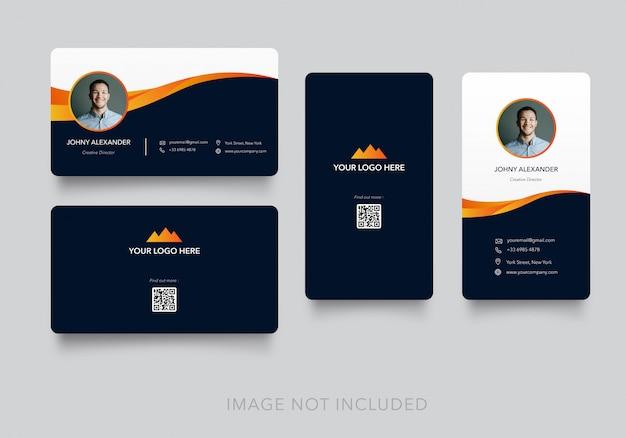 Carte De Visite Moderne Simple Avec Version Verticale Et Horizontale Vecteur Premium