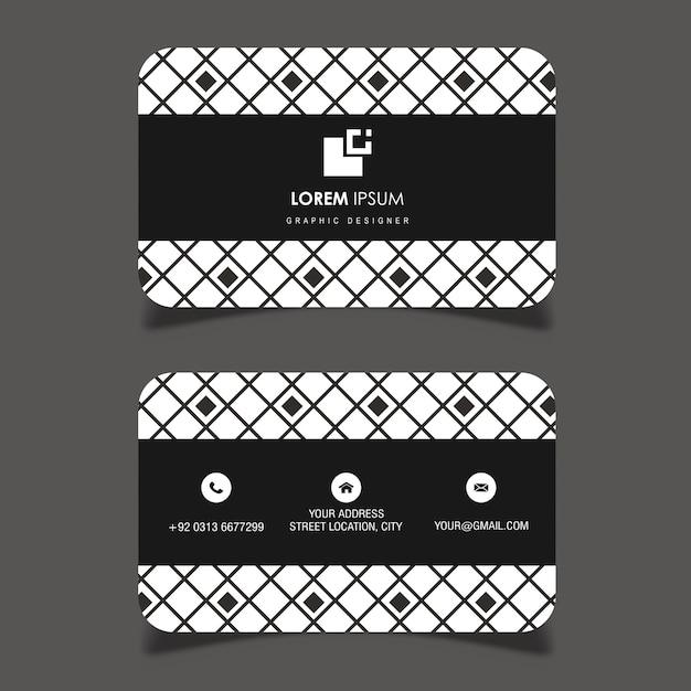 Carte De Visite Motif Géométrique Noir Et Blanc De Vecteur Vecteur gratuit