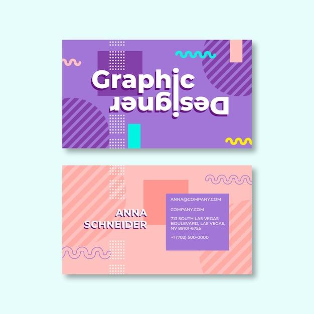 Carte De Visite Multicolore Abstraite Vecteur gratuit
