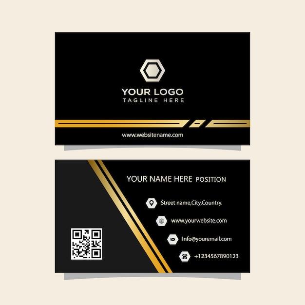 Carte de visite noir et or Vecteur Premium