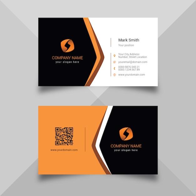 Carte de visite orange Vecteur Premium