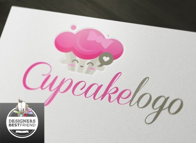Carte De Visite De Petit Gâteau De Logo Rose Vecteur gratuit
