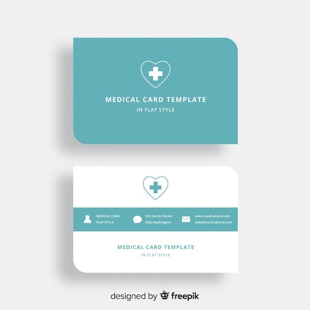 Carte de visite plate avec conception médicale Vecteur gratuit