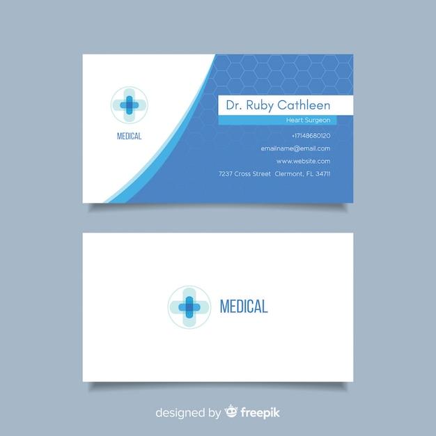 Carte de visite plate pour hôpital ou médecin Vecteur gratuit