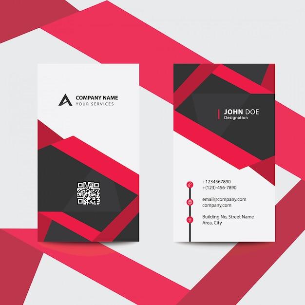 Carte De Visite Pour Entreprise Professionnelle Style Pli Rouge