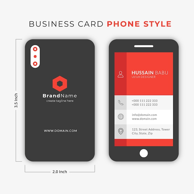 Carte de visite smart phone style Vecteur Premium
