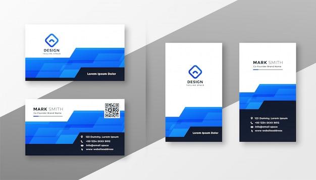 Carte De Visite Style Geometrique Abstrait Bleu