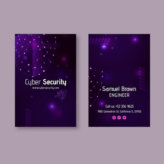 Carte De Visite Verticale Double Face Cybersécurité Vecteur Premium