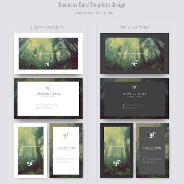 Carte de visite verticale et horizontale minimale avec image Vecteur Premium