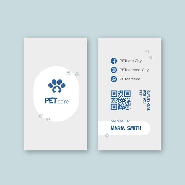 Carte De Visite Vétérinaire Recto-verso Vecteur Premium