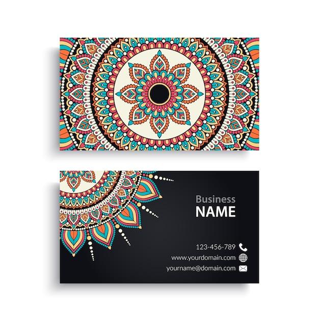 Carte de visite vintage decorative elements ornamental floral business cards oriental pattern vector illustration Vecteur Premium