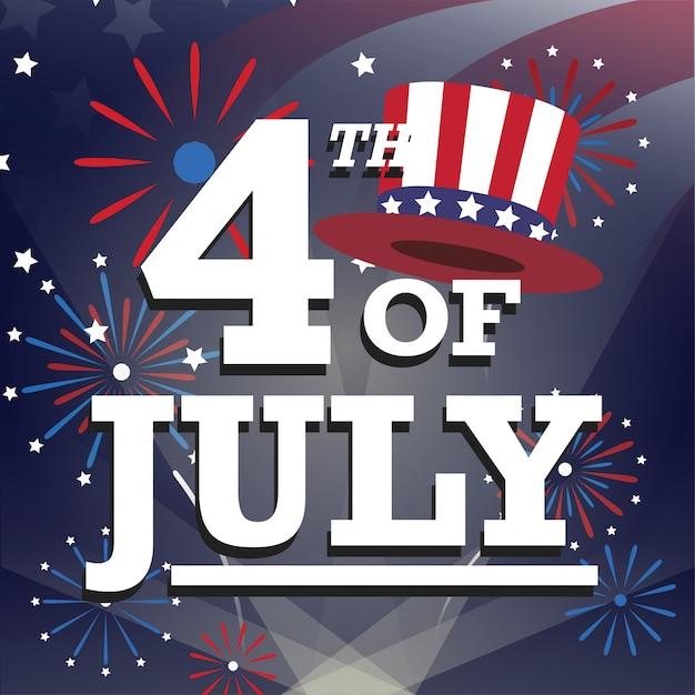 Carte de voeux américaine du 4 juillet avec feu d'artifice Vecteur Premium