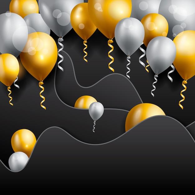 Carte de voeux d'anniversaire avec des ballons Vecteur Premium