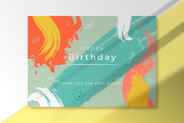 Carte De Voeux D'anniversaire De Formes Abstraites Vecteur gratuit