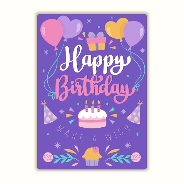 Carte De Voeux D'anniversaire Plat Bio Avec Lettrage Vecteur Premium