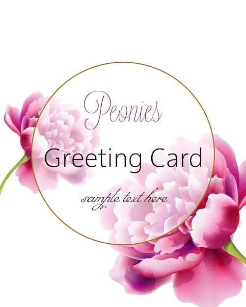 Carte De Voeux Aquarelle Avec Des Fleurs De Pivoines Roses Et Place Pour Le Texte Vecteur gratuit