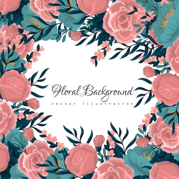 Carte de voeux avec aquarelle de fleurs Vecteur gratuit