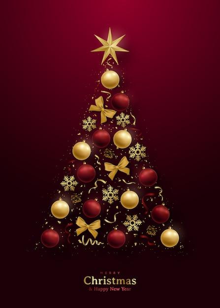 Carte De Voeux Avec Arbre De Noël 3d. Vecteur Premium