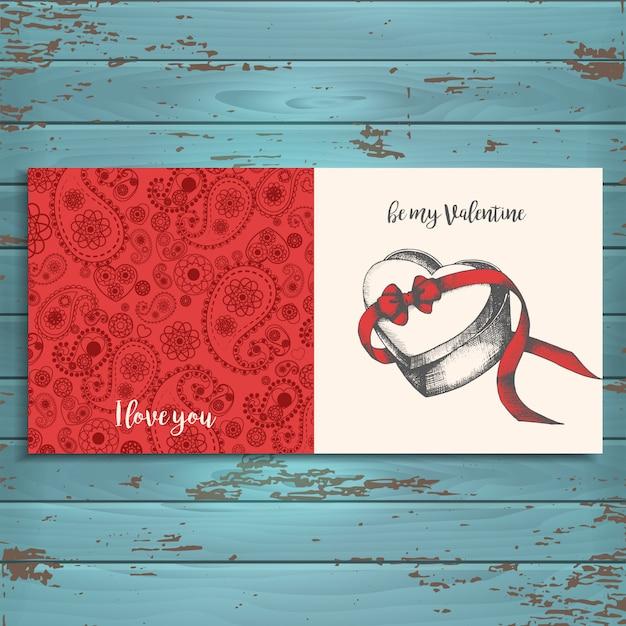 Carte de voeux en bois. joyeuse saint valentin. Vecteur Premium