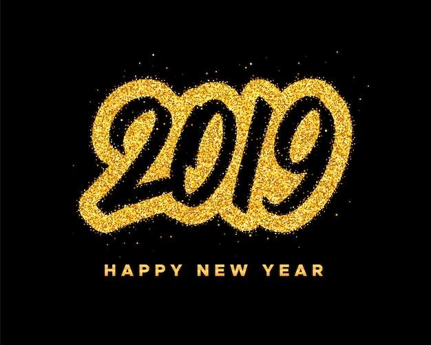 Carte de voeux de bonne année 2019 Vecteur Premium