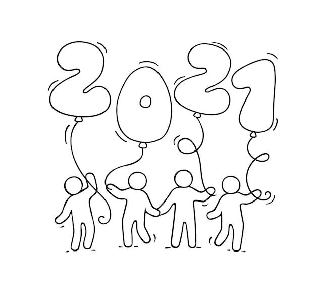 Carte De Voeux De Bonne Année 2021. Illustration De Dessin Animé De Doodle Avec De Petites Personnes Tenant Des Ballons. Illustration Vectorielle Dessinés à La Main Pour La Célébration. Vecteur Premium