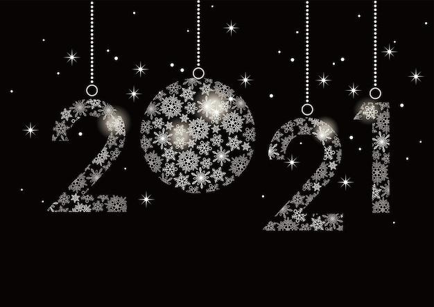 Carte De Voeux De Bonne Année 2021 Avec Numéro De Flocons De Neige Vecteur gratuit