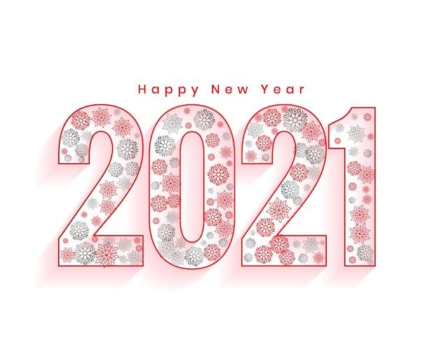 Carte De Voeux De Bonne Année Avec Des Numéros 2021 Faits Avec Des Flocons De Neige Vecteur gratuit