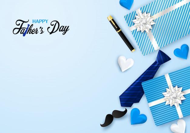 Carte de voeux bonne fête des pères calligraphie. concevoir avec coeur, cravate sur fond bleu. Vecteur Premium