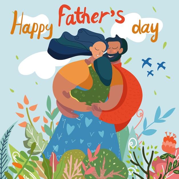 Carte de voeux bonne fête des pères, famille sur le terrain Vecteur Premium