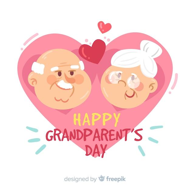 Carte de voeux bonne journée des grands-parents avec des personnages mignons de grand-père et de grand-mère Vecteur gratuit