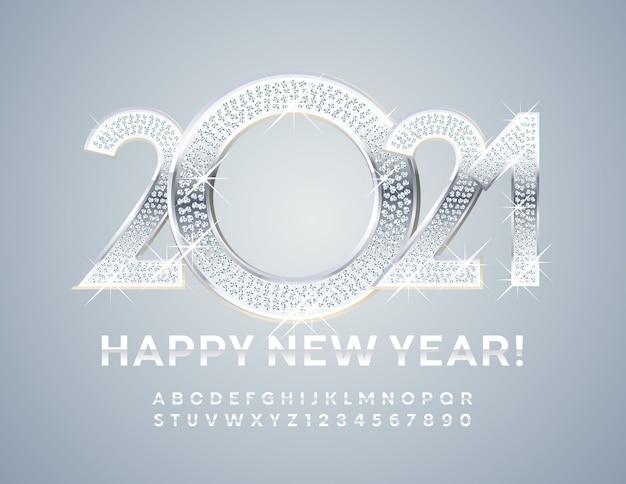Carte De Voeux Brillante Bonne Année 2021! Police D'argent. Lettres Et Chiffres De L'alphabet En Métal Vecteur Premium