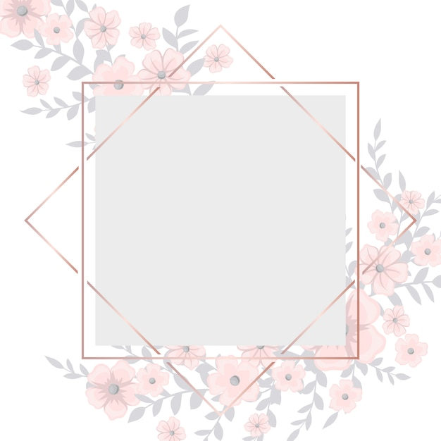 Carte de voeux avec cadre de fleurs rose clair Vecteur gratuit