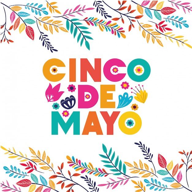 Carte de voeux de célébration de cinco de mayo Vecteur Premium