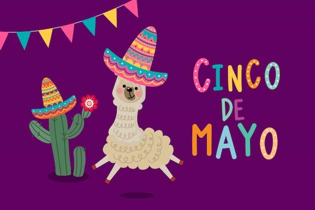 Carte de voeux cinco de mayo avec un alpaga et un cactus mignons. Vecteur Premium