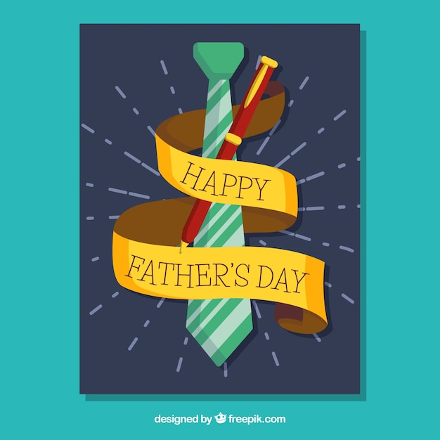Carte de voeux avec cravate et stylo pour le jour du père Vecteur gratuit