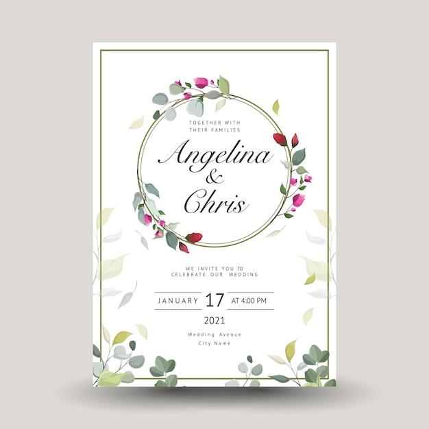 Carte De Voeux Décorative Ou Invitation Avec Floral Vecteur Premium