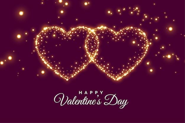 Carte De Voeux Deux Coeurs Sparkle Connectés Saint Valentin Vecteur gratuit
