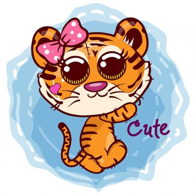 Carte de voeux de douche de bébé avec jolie fille tigre cartoon - vecteur Vecteur Premium